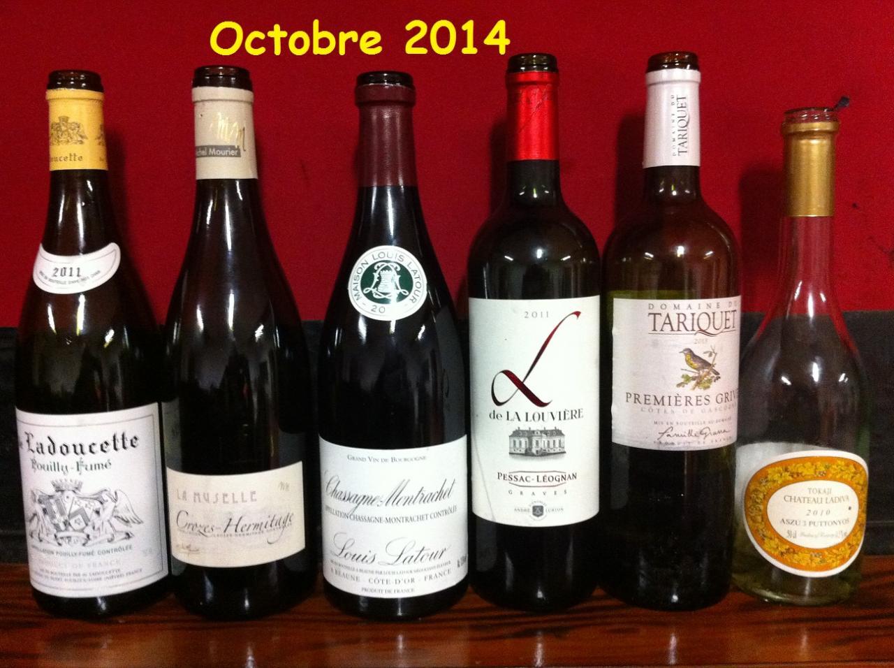 vins dégustés 2014 - 2015
